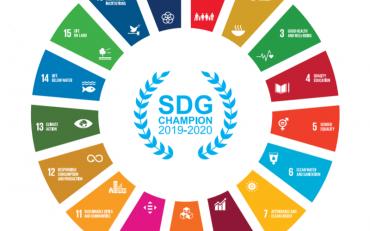 Logo of the SDGs, including the 17 goals