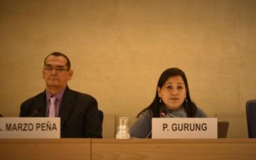 photo of indigenous leader pratima gurung speaking at the UN