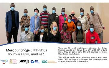 Group picture of youth participants attending Bridge CRPD SDGs in Kenya module 1
