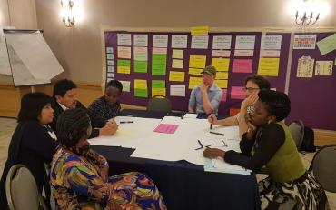 break-out group - participants sitting on a roundtable discussing gender
