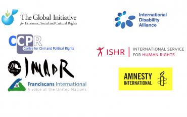 Logos of: the Global Initiation for Economic, Social and Cultural Rights, the Centre for Civil and Political Rights, IMADR, Franciscans International, International Disability Alliance, International Service for Human Rights, and Amnesty International