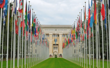 Image of the flags at the Palais de Nations, Geneva