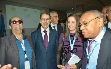 Ibrahim Abdallah, Jahda Abou Khalil and Abdelmajid Makni with the Prime Minister of Morocco at the Forum