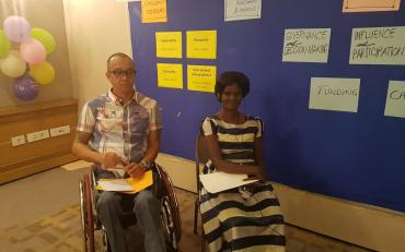 Agnes Abukito and Abner Manlapaz moderating presentations session