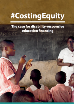 Costing Equity report cover. A young boy stands in a classroom signing.
