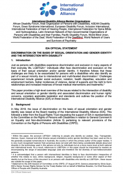 Screen-grab of the first page on the IDA statement on Discrimination on the basis of sexual orientation and gender identity and the intersection with Disability