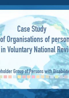 Cover page of the Case study publication, on the participation of organisations of persons with disabilities in Voluntary National Reviews