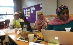 Dwi Ariyani, Disabilty Rights Fund, Risnawati Utami and Fatma Wangari on day 2 of the BRIDGE Training of Trainers