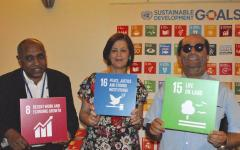 Aran Organisation of Persons with Disabilities representatives with SDG signs