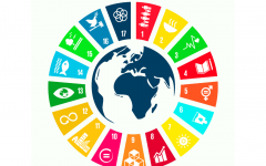 SDGs and African continent's map in the middle.