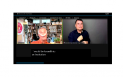 Screen shot of webinar with Adolf Ratzka speaking using a breathing tube, with CART and an international sign interpreter.