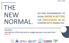 Banner with the title of the report, the new normal; getting governments to spend (more and better) for (inclusion) of all persons with disabilities. Volume 1, Learning from DPOs initial work on budget advocacy in the Asia-Pacific
