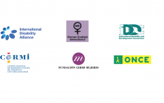 Logos of IDA, Women Enabled International, IDDC, ONCE, CERMI and Fundacion Cermi Mujeres