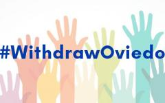 Picture of multiple coloured hands with the hashtag #WithdrawOviedo