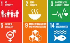 SDG Goals 1, 2, 3, 5, 9 and 14