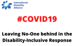 Image reads: COVID19: Leaving No-One behind in the Disability-Inclusive Response